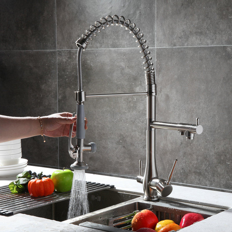 Spring Pull out  dwon three way kitchen faucet Nickle Brushed